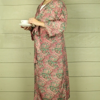 Green & Red Paisley Silk Dressing Gown
