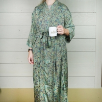 Green Patterned Silk Dressing Gown