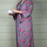 Mauve Grey and Pink Rose Cotton Dressing Gown