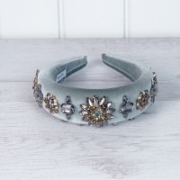 Jewelled Grey Velvet Hairband