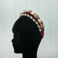 Jewelled Burgundy Velvet Hairband