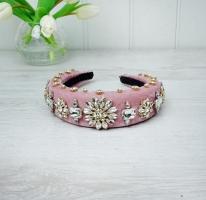 Jewelled Pink Velvet Hairband