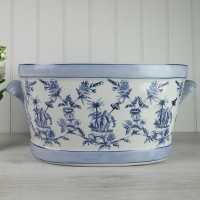 Large Blue and White Planter