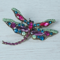 Multi Coloured Dragonfly Brooch