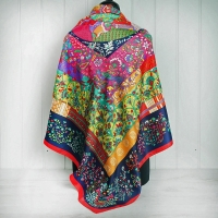 Mutli Colour Geometric Floral Silk Scarf