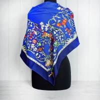 Navy & Blue Floral Silk Scarf