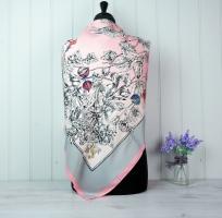 Pink & Grey Silk Scarf