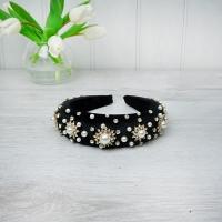 Pearl & Crystal Black Velvet Hairband