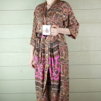 Pink & Brown Silk Dressing Gown