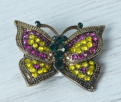 Pink & Yellow Butterfly Brooch