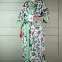 Pink Floral Cotton Dressing Gown with Green Trim