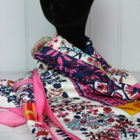 Pink, White and Navy Silk Scarf - Large