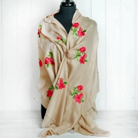 Pinky Beige Embroidered Cashmere Wrap