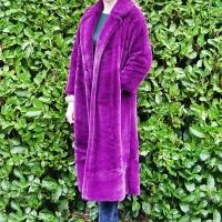 Purple Faux Fur Midi Coat