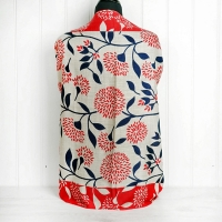 Red, Cream & Navy Floral Cashmere Wrap