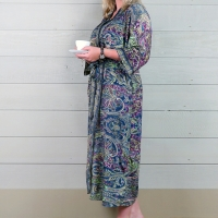 Silk Dressing Gown - Blue/Green
