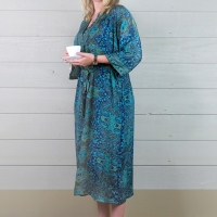 Silk Dressing Gown - Blue/Turquoise