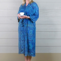 Silk Dressing Gown - Bright Blue