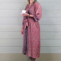 Silk Dressing Gown - Coral Pink