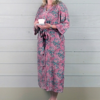 Silk Dressing Gown - Pink/Green