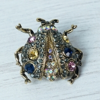 Small Dark Gold Bug Brooch
