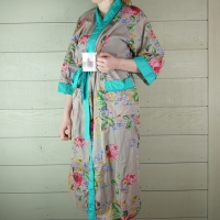 Stone Floral Cotton Dressing Gown with Turquoise Trim