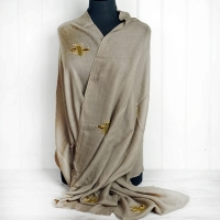 """Taupe Beaded """"Bee"""" Cashmere Scarf"""