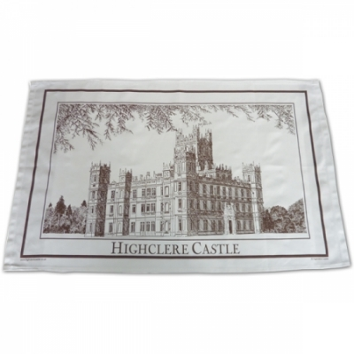 Tea Towels: Highclere Castle Picture - Brown