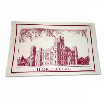 Tea Towels: Highclere Castle Picture - Red
