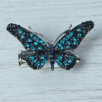Turquoise & Black Butterfly Brooch