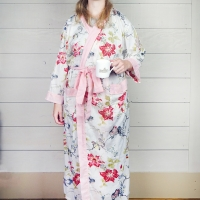 White and Pink Edged Floral Cotton Dressing Gown