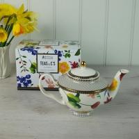 White Floral Teapot - Small