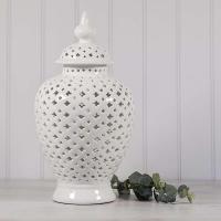 White Pierced Ceramic Temple Jar