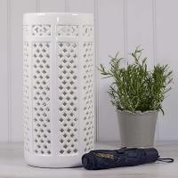 White Pierced Ceramic Umbrella Stand
