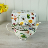 White Floral Teapot - Large